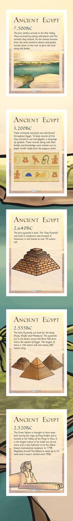 KS2 History Timelines- Ancient Egypt Timeline Posters