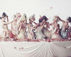 Women in Marie Antoinette-inspired fashion