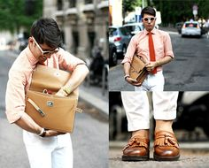 ORANGE AND WHITE (by Filippo F.) http://lookbook.nu/look/3702573-ORANGE-AND-WHITE