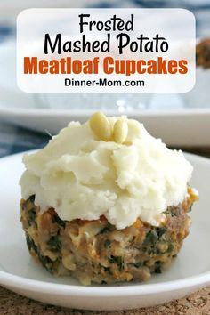Meatloaf Cupcakes with Mashed Potato Icing are FUN, absolutely DELICIOUS and are packed with HEALTHY ingredients like oatmeal, cheese and spinach too! #meatloafcupcakes #meatloafmuffins #meatloaf #mashedpotatoicing