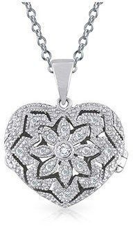Bling Jewelry Vintage Style Filigree Pave Heart Locket Pendant Sterling Silver Necklace 18 Inches. #jewelryvintage #sterlingsilverjewelrynecklacestyle