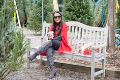 Red cape, mistletoe, over the knee boots, holiday outfit, christmas tree farm, red , grey