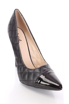 Black Quilted Single Sole Pump Heels Faux Leather