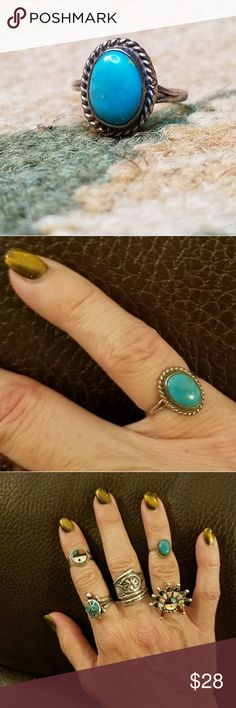 Navajo turquoise Sterling midi pinky ring Pretty Sleeping Beauty bezel set turquoise cabochon surrounded by braided rope and set on a split shank stamped 925. Jewelry Rings