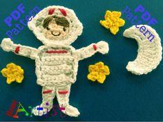 Astronaut crochet Applique Pattern