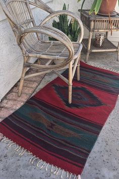 """Wool Navajo / Aztec / Zapotec pattern saddle blanket rug 53""""X27"""" runner size red teal diamond by eclecticvintageboho on Etsy"""