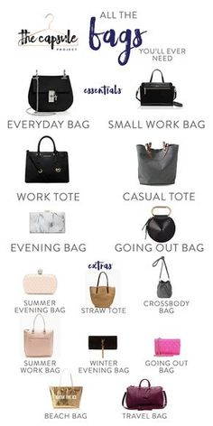 A Complete Bag Wardrobe according to the Lucky Shopping Manual bags handbags style The Complete Bag Wardrobe — The Capsule Project Fashion Terms, Fashion Mode, Look Fashion, Fashion Bags, Fashion Accessories, Womens Fashion, Bath Accessories, Fashion Handbags, Fashion Outfits
