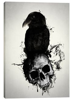 Raven and Skull by Nicklas Gustafsson Graphic Art on Wrapped Canvas