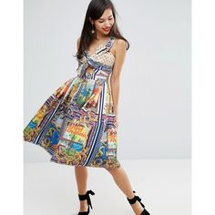 ASOS Linen Bow Detail Cut Out Skater Dress in Postcard Print (108 AUD) ❤ liked on Polyvore featuring dresses, multi, cut-out skater dresses, v-neck dresses, v neck skater dress, asos dresses and cutout dresses