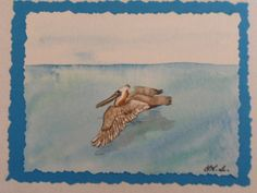 Pleasant Pelican: original watercolor painting card