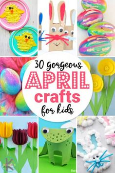 30 gorgeous April Crafts for Kids - so many fun unique and creative april themed crafts including bunnies chicks frogs flower and Frog Crafts, Bunny Crafts, Cute Crafts, Easter Crafts, Creative Crafts, Creative Art, Easy Art Projects, Projects For Kids, Crafts For Kids