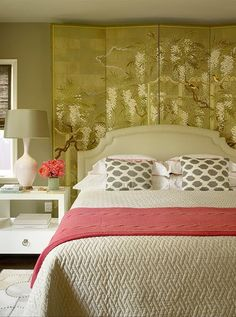 like gray and coral.  like the screen behind the headboard for interest