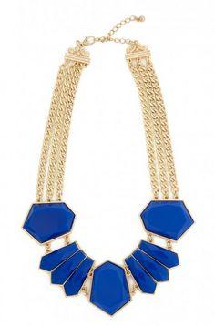 Stone Statement Necklace from Fashion to Figure #CobaltBlue #FashionToFigure #PlusSizeFashion