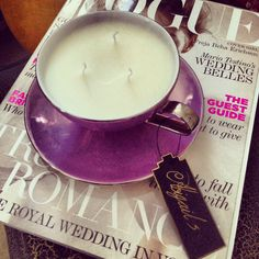 Three wicked fragrant teacup candle