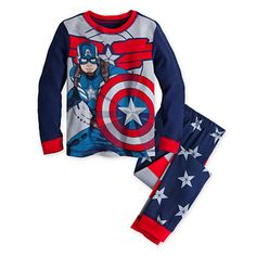 Shop top captain america pajama all in one place. Boys Pjs, Boys And Girls Clothes, Boys Pajamas, Baby Kids Clothes, Little Boy Outfits, Baby Boy Outfits, Kids Outfits, Kids Spiderman Costume, Patriotic Costumes