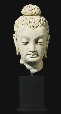 A terracotta head of Buddha, Ancient region of Gandhara, Kushan period, century ~ETS Buddha Sculpture, Gautama Buddha, Art Thou, Buddhist Art, Ancient Art, Indian Art, Oriental, At Least, Statue