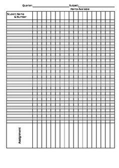 Elementary Grade Sheet Template | Grade Book Template | Projects ...