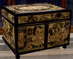 England ~ 1662 ~ Silk, metalic thread, sead pearls, wood, metal, raised embroidery