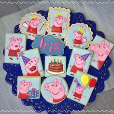 peppa pig cookies by pamycakes Peppa Pig Cookie, Pig Cookies, Desserts, Food, Tailgate Desserts, Dessert, Postres, Deserts, Meals