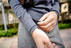 Merino wool sweater outfit: plaid pants, merino crew and Banana Republic flared sleeve coat in stylish story by Miami fashion blogger Tanya Litkovska