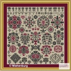 FolkCostume&Embroidery: Crosss stitch embroidery of the Vierlande, Germany