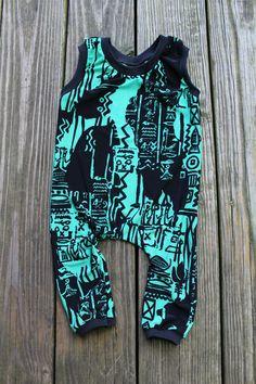 Graffiti Baby Clothes - Mint Green Romper