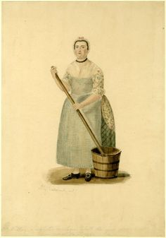 Portrait of Mrs Maltby; whole-length standing wearing apron and holding mop which is immersed in bucket at her feet, looking to front Watercolour over graphite
