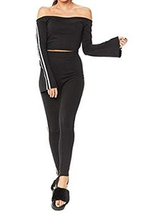 dbdaaad835cc2 Women s Casual Long Sleeve Off Shoulder Two Piece Sports Tracksuit