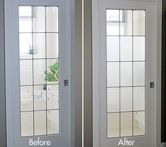 DIY frost glass - a simple project that you can complete in under and hour. Before and after frosted glass effect.