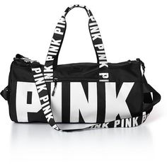 PINK Gym Duffle (1,615 PHP) ❤ liked on Polyvore featuring bags, luggage, duffel bags and grey