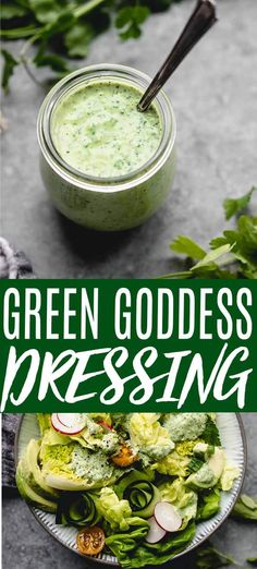 This healthy Green Goddess Salatsoße takes less than five minutes to make and is loaded with fresh herbs, garlic and tangy lime juice. Roasted Vegetable Salad, Roasted Vegetables, Vegetable Dips, Herb Salad, Macaroni Salad, Pasta Salad, Food Salad, Vegetarian Recipes, Cooking Recipes