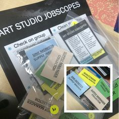Art studio management: Assign a student a role in taking care of one aspect of cleaning up. Suitable for groups of 4 per table.
