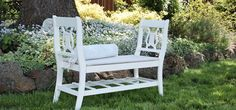 This French-style bench is, amazingly, made from two broken chairs. | 41 Ways To Reuse Your Broken Things