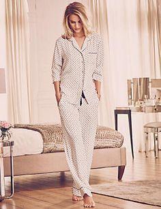 Pink Rose Print Revere Collar Pyjamas