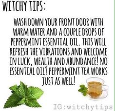 """""""Easy witchy tip for adding magick into some spring cleaning! Alternatively, match the essential oils with your purpose! Use sandalwood…"""" It might also deter mice: they apparently don't like mint Wiccan Witch, Magick Spells, Wicca Witchcraft, Witch Rituals, Green Witchcraft, Healing Spells, Feng Shui, Reiki, Affirmations"""