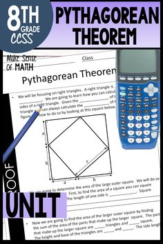 This Pythagorean Theorem unit includes notes, worksheets, assessments, and fun activities. These products are aligned to the 8th grade common core standards. Your eighth grade (year 8) math students will love understanding the proof, and calculating the hypotenuse and legs of right triangles. Also includes word problems to apply to real-world situations. These resources are aligned to the 8th grade math common core standards. #makesenseofmath #pythagoreantheorem Geometry Activities, Fun Math Activities, 8th Grade Math, Eighth Grade, Year 8 Maths, Right Triangle, Pythagorean Theorem, Common Core Standards, Math Classroom
