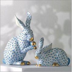 Herend Porcelain Bunnies by Gump's San Francisco