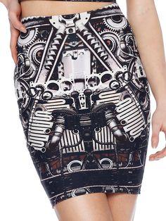 Steam Punk Steel Pencil Skirt (WW $60AUD / US $48USD) by Black Milk Clothing
