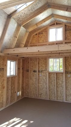 46 Ideas Backyard Shed With Loft Spaces For 2019 Storage Shed Kits, Barn Storage, Diy Storage Loft, Loft House, Tiny House Cabin, Shed With Loft, Shed Loft, Shed Construction, Construction Services