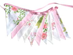 Vintage Retro Pink and Green Floral Flag Bunting. Party, Wedding Home Decoration