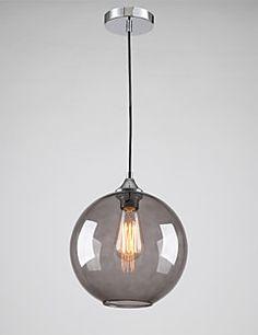 Modern Glass Pendant Light in Round Smoke grey Bubble Design – USD $ 69.67