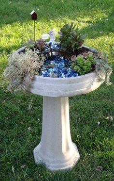 fairy garden using a bird bath - another great up-cycle idea