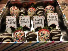 DIY edible birthday arrangement. Tin from hobby lobby. Signs from hobby lobby - I wrote on them. Strawberries. Almond bark. Sprinkles. Place sign on strawberry immediately after dipping - it will stick and dry. #birthday #fruit #strawberries #chocolate