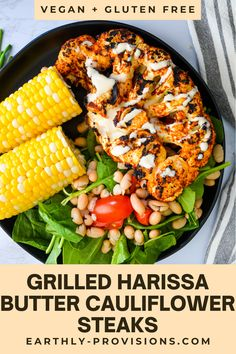 Harissa Butter Grilled Cauliflower Steaks are the perfect way to spice up your vegan grilling! This Cauliflower recipe is easy, flavorful and fast and is always a hit! Vegan Bbq Recipes, Delicious Vegan Recipes, Vegan Dinners, Grilling Recipes, Lunch Recipes, Healthy Dinner Recipes, Real Food Recipes, Vegetarian Meals, Vegan Food