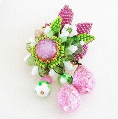 "Stanley Hagler Ian St Geiler Pink and Green Floral Brooch 3"""