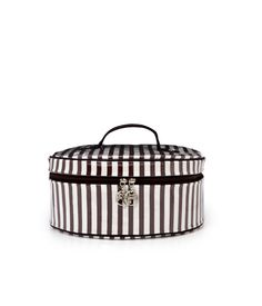 Henri Bendel brown & white stripe extra large hat box - cosmetic bag - designer cosmetic cases
