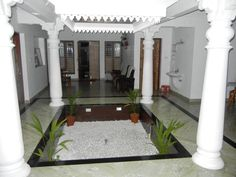 Indian Home Interior, Hall Interior, Indian Interiors, Courtyard House Plans, Courtyard Design, Dream House Plans, My Dream Home, Chettinad House, Tropical House Design