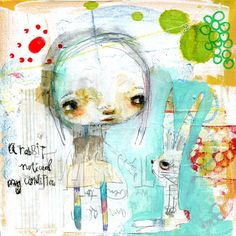bunny raw mixed media A Rabbit noticed my by mindylacefield