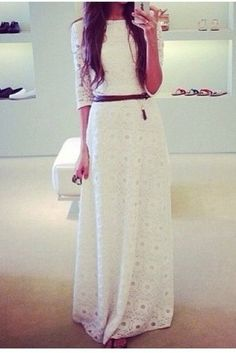 I love the length of the sleeves. I don't love white, and I think a shorter skirt would be better, but this is cute