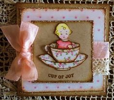 "One of my vintage-style cards using Crafty Secrets' products...""Cup of Joy"""